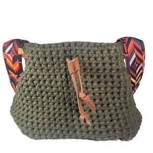Handbags - Khaki Green Crossbody Rope Bag